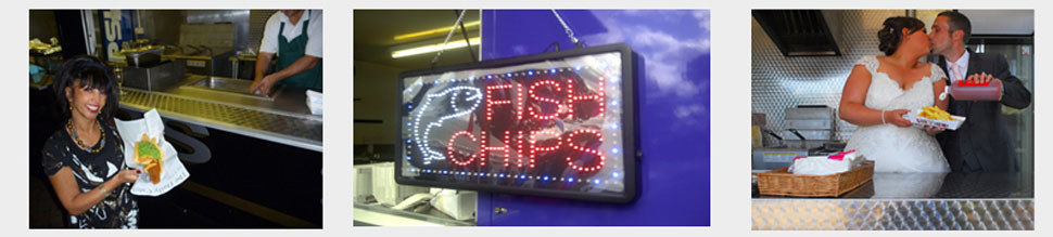fish and chip hire at an outdoor wedding celebration