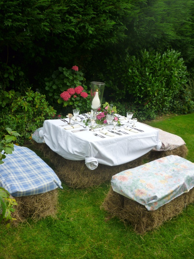 hay bale outdoor table