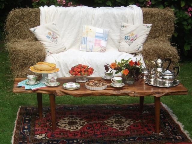 Hay bale sofa set for afternoon tea