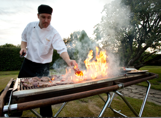 Thomas the caterer firing up the bbq - see him at Sami Tipi open weekend