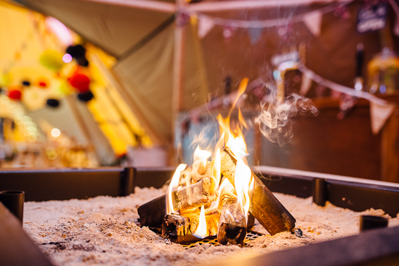 Blazing Tipi Fire - Photo by Matt Brown Photography