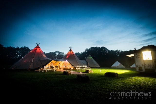 Tipi Wedding by night